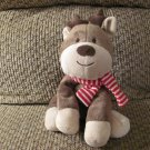 """Carters Just One You Brown Tan Reindeer Red White Striped Scarf Lovey Plush 7"""""""