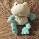 "Carters Child Of Mine Green Frog Bean Bag Blue Green Swirls Lovey Plush 8"""