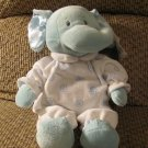 "WT Baby Ganz Swirl Elephant BG1613 Rattle Satin Blue White Pajamas Lovey Plush 13"""