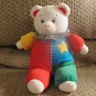 Vintage Eden Toys Inc Colorful Jumper Checkered Ruffle Clown Wind Up Musical Teddy Bear Plush