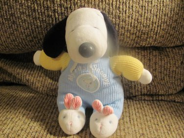 """Prestige My First Snoopy Pastel Thermal Bunny Slippers Rattle Lovey Plush 9"""""""