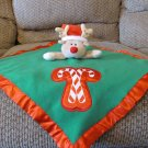 """Babyboom Baby Boom Red Green Musical Candy Cane Heart Reindeer Lovey Security Blanket 17x17"""""""