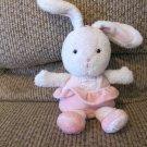 "Prestige Baby #37154 Pink Ballerina Skirt Shoes White Bunny Rabbit Rattle Plush 8"""
