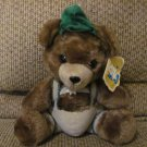 "WT Vintage Dakin 1979 Bavarian Lederhosen Alpine Hat Yodel Bear Teddy Bear Lovey Plush 10"""