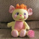2007 Happy Pop N Giggle Yellow Pink Sparkle Talking Popples Plush Lovey 11'