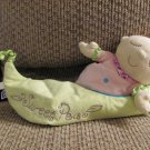2006 Manhattan Toy Sweet Pea Green Pod Pink Nighty Satin Ruffles Lovey Plush