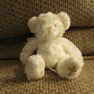 Russ Berrie #27513 Faith Gold Cross White Fluffy See Thru Bow Teddy Bear Lovey Plush 8""