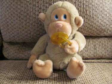 Vintage Russ Berrie #472 Chee Chee Tan Pacifier Plastic Blue Eyes Sitting Monkey Lovey Plush 8""
