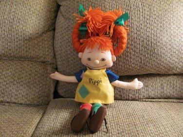 """Omega Toy Astrid Lindgren Pippi Longstocking Yarn Pigtails Garter Socks Doll Lovey Plush 21"""""""