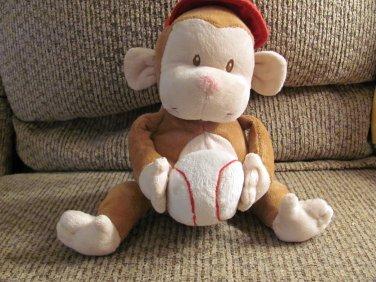 "2008 Luv N Care Nuby Baseball Brown Cream Singing Monkey Lovey Plush 8"""