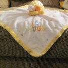 """Carters One Size I Love Hugs Yellow White Orange Duck Duckling Security Blanket Lovey Plush 15 x14"""""""