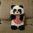 """Vintage WT Applause 1985 Little Beggar Panda Med Lrg #2225 White Black Bear Lovey Plush 12"""""""