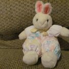 1991 Vintage Dakin Cloth Pastel  Flower Jumper Suspenders Bunny Rabbit Lovey Plush 9""