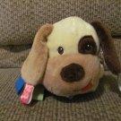 "Kids II Taggies Jingle Rattle Cream Brown Tan Blue Polka Dot Puppy Dog Lovey Plush 10"""