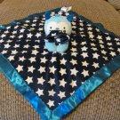 """Old Navy White Stars Navy Blue Satin Monster Bear Security Blanket Lovey 14x14"""""""
