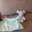 2014 Carters Baby Cuddle Blanket Mint Green Lovey Gray Mouse Plush Security Blanket