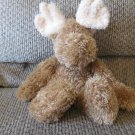 """2001 Baby Boyds Collection Cream Brown Moose Rattles Lovey Plush 13"""""""