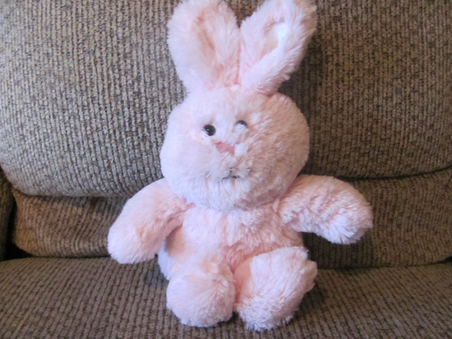 2015 Animal Adventure Pink White Tail Soft Bunny Rabbit Lovey Plush 11""