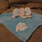 """Baby Gear Gray Elephant Striped Ears Turqious Blue  Security Blanket Lovey 13x14"""""""