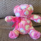 2012 Animal Adventure Pastel Hearts Hot Pink Furry Teddy Bear Lovey Plush 8""