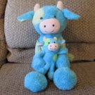 2014 Animal Adventure Baby Blue Green Cow With Calf Gingham Ears Lovey Plush 18""