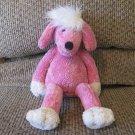 """Pottery Barn Kids Hot Pink Poodle White Poufy Hair Lovey Plush 13"""""""
