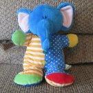 """Russ Berrie #34783 Jiggles Stripes Polka Dot Rattle Elephant Lovey Plush 10"""""""