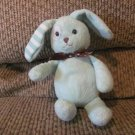 Galerie Light Blue Patched Eye Brown Satin Polka Dot Bow Bunny Rabbit Small Lovey Plush 9""