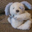 "Hallmark Huggums? Blue White Striped Silver Bow Puppy Dog Small Lovey Plush 8"""