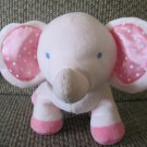 Babies R Us Toys R Us Pink Elephant Polka Dot Satin Ears Striped Bow Tail Lovey Plush 12""