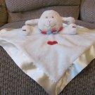 "Baby Ganz Blue Red Heart Cream Off  White Lamb Sheep Fleece Satin Security Blanket Lovey 13x14"""