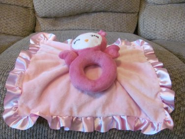 """Carters Pink Rattle Lovey Owl Security Blanket Plush 12x13"""""""