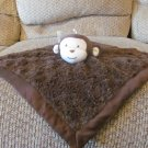 Kids Line Brown Monkey Satin Fur Sewn Facial Features Security Blanket Lovey Plush