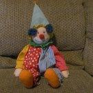 "Vintage #1039 Russ Berrie Chuckles Blue Yarn Hair Hat Striped Jumper Clown Lovey Plush 19"""