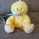 "2016 Animal Adventure Yellow Orange Blue Polka Dot Furry Duck Duckling Lovey Plush 11"""