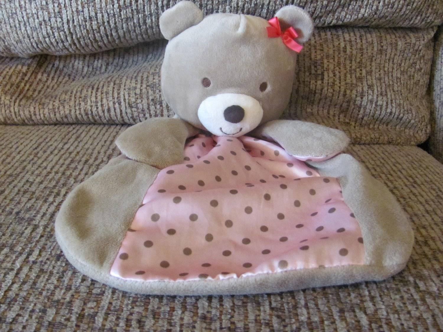 Carters Just One You Tan Bear Cuddle Me Rattle Pink Polka Dots Security Blanket Lovey