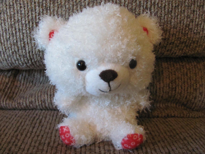 """Hallmark VTD1545 Red XOXO White Teddy Bear Lovey Plush 7"""""""