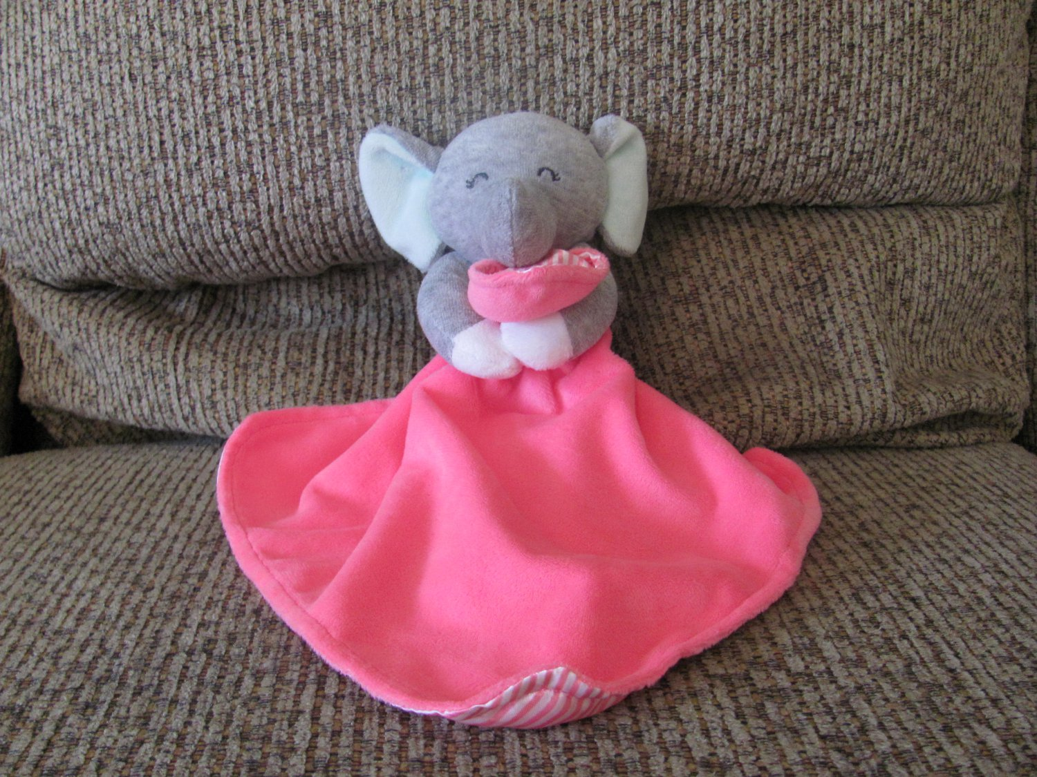 Carters One Size Cuddle Blanket Hot Pink Lovey Gray