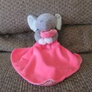 Carters One Size Cuddle Blanket Hot Pink Lovey Gray Elephant Plush Security Blanket
