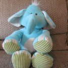 2014 Animal Adventure Soft Blue Cream Green Corduroy Elephant Lovey Plush 17""