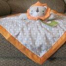 """NWT Circo Target Gray White Diamond Orange Lion Security Blanket Lovey 14x13"""""""