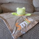 Carters One Size Smile Orange Light Brown Tan Frog Security Blanket Lovey Plush 15x15""