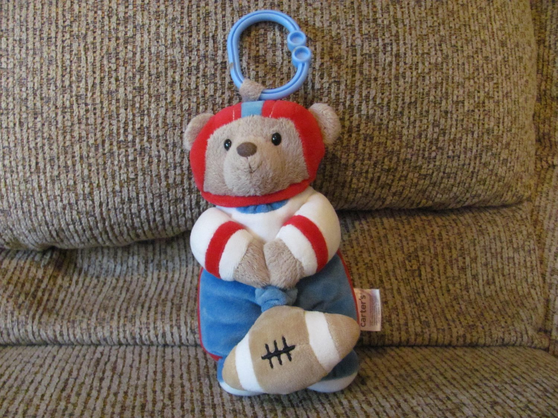 "Carters Little Rookie Teddy Bear Football Player Crib Hanger Vibrating Pull String Lovey Plush 8"""