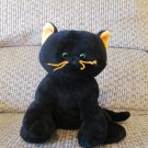 2005 Ty Pluffies Black Cat Orange Whiskers Ears Kitty Cat Plush Lovey 7""