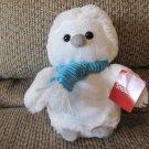 "WT Animal Adventure Snowies White Snow Owl Blue Corduroy Scarf Lovey Plush 9"""