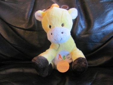 "WT Carters Child Of Mine #83147 Yellow Giraffe ABC Musical Lovey Plush 8"""