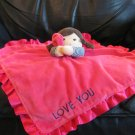 Carters One Size Love You Hot Pink Doll Girl Rattles Lovey Plush Security Blanket 14x15""