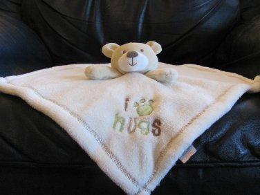 Baby Gear Tan Teddy Green Brown White I Paw Hugs Fleece Security Blanket Lovey Plush