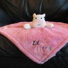 "Baby Gear Pink White Black Zebra Little Diva Security Blanket Lovey Plush 14x14"""