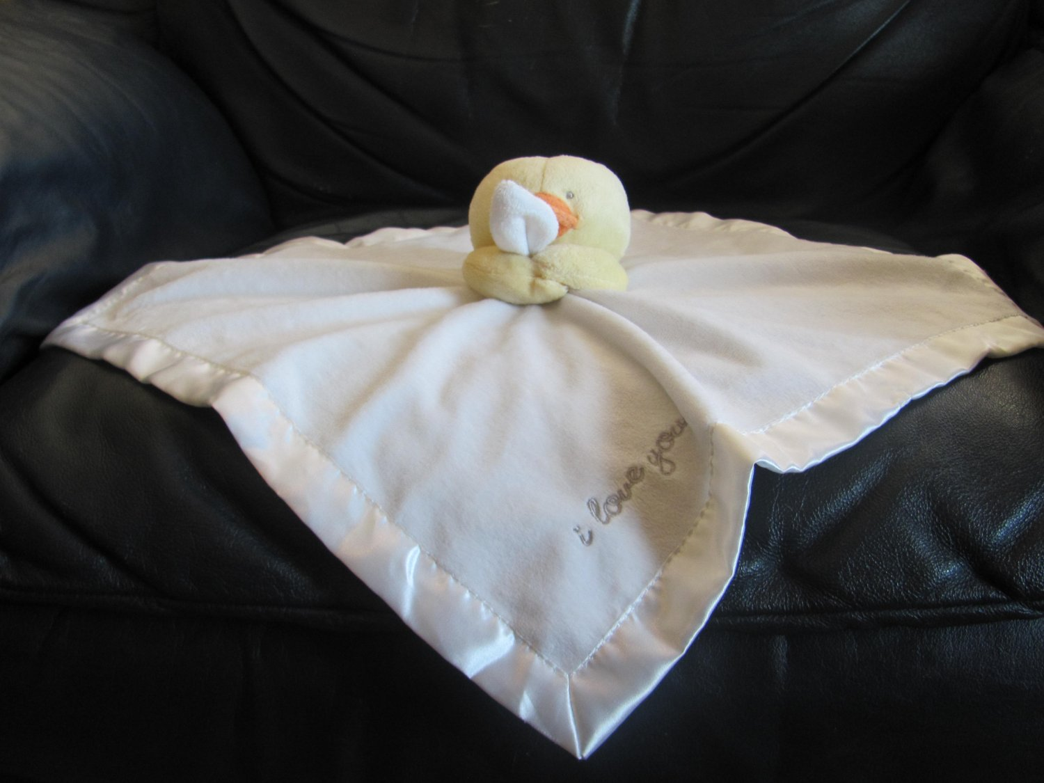 Carters One Size White I Love You Yellow Duck Duckling Rattles Lovey Security Blanket 15x16""